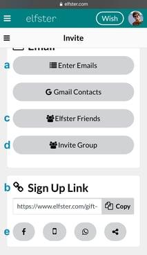 Invitation Options on Mobile
