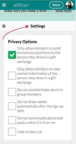 Gift Exchange Privacy Settings on Mobile