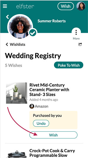 """""""Wish"""" for the item you marked as purchased"""