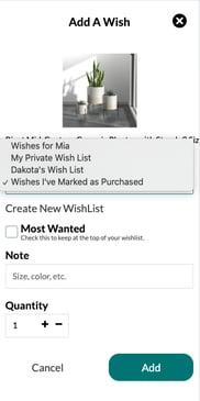 Selecting a Wishlist
